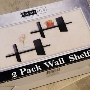 NIB 2 Pack Wall Black Contemporary Shelves